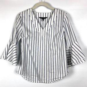 V Neck Ruffle 3/4 Sleeve Striped Woven Top